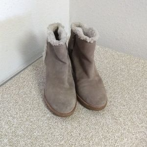 Cole Haan Taupe Suede Wedge Ankle Boots